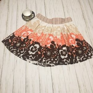 Coral, White & Brown Floral Print Skirt